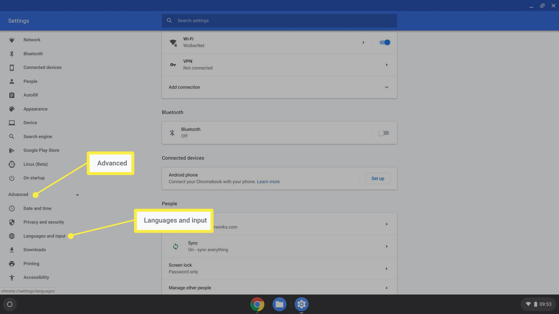 Language & Input settings selection