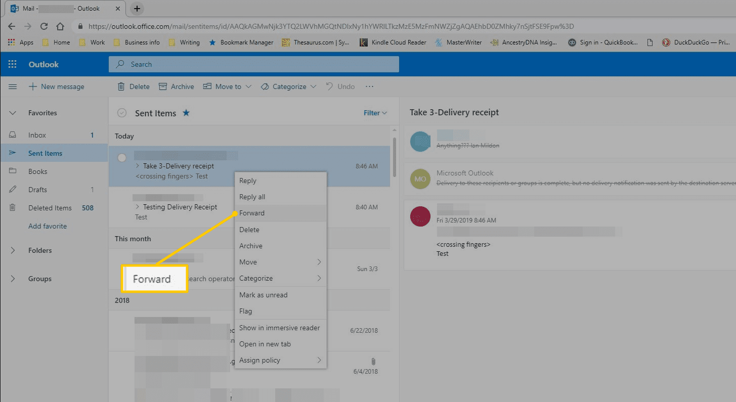 Forward menu item in Outlook