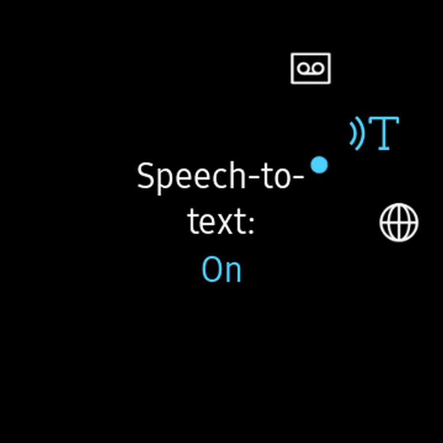 Screenshot of the Galaxy Watch speech-to-text app.