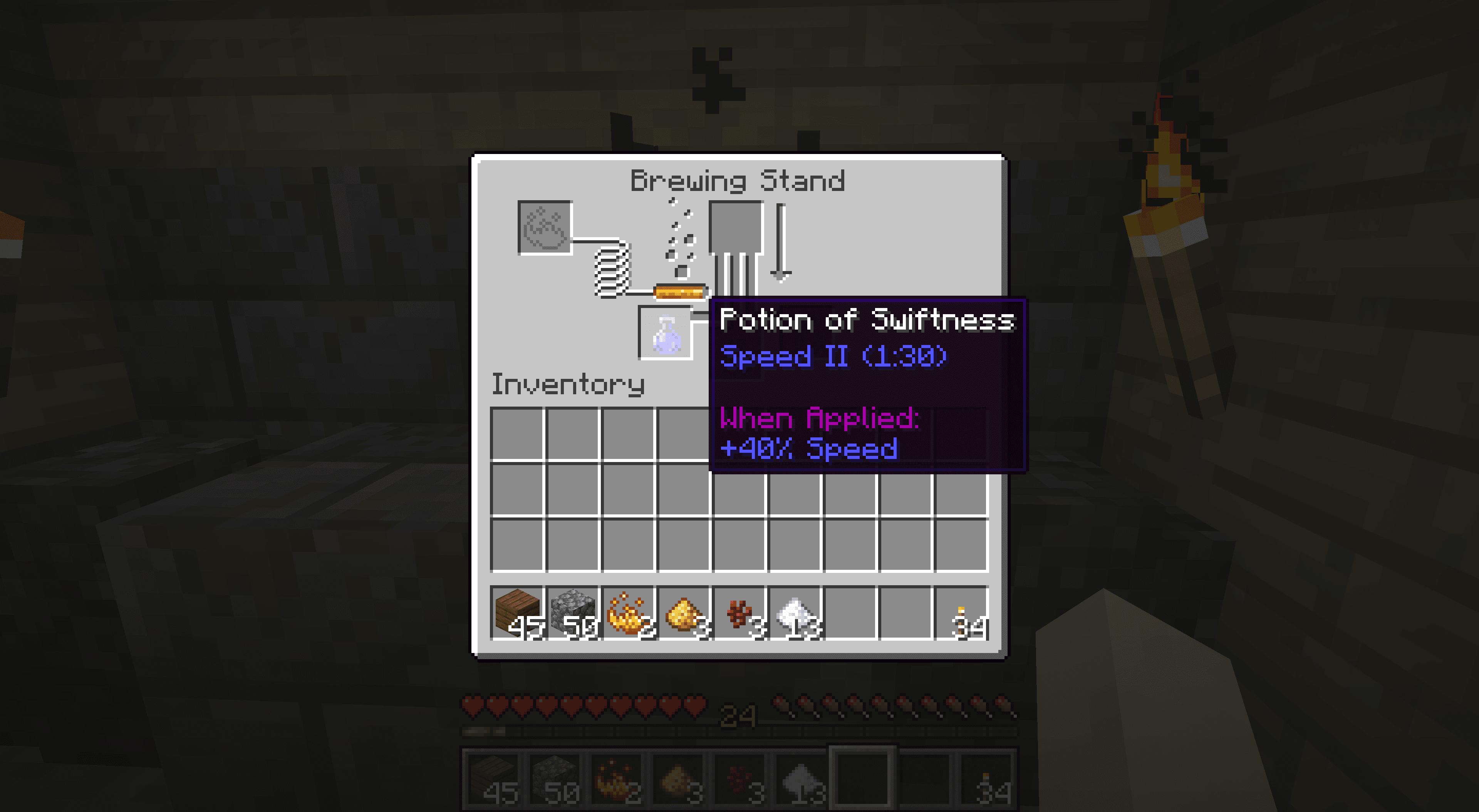 A Potion of Swiftness Speed II (1:30) in Minecraft.