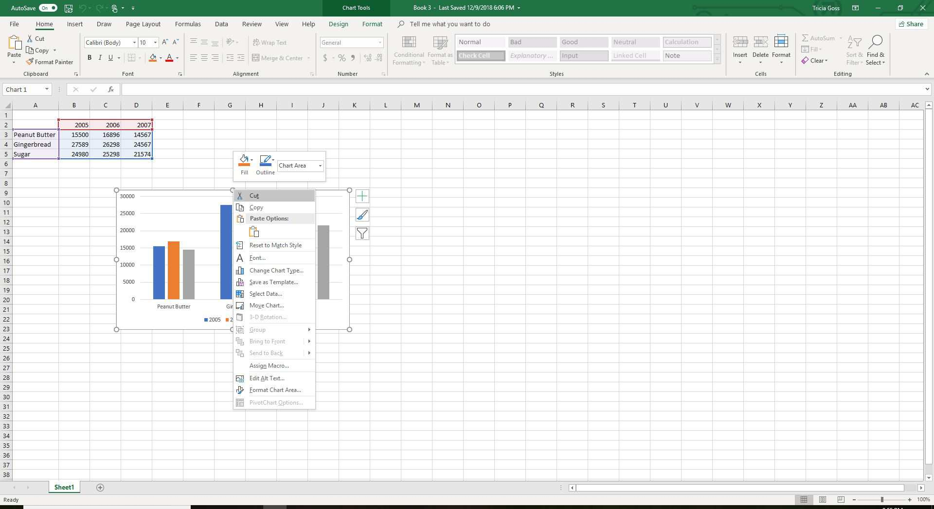 Copying a chart from Excel.