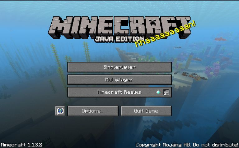Screenshot of Minecraft Login Screen