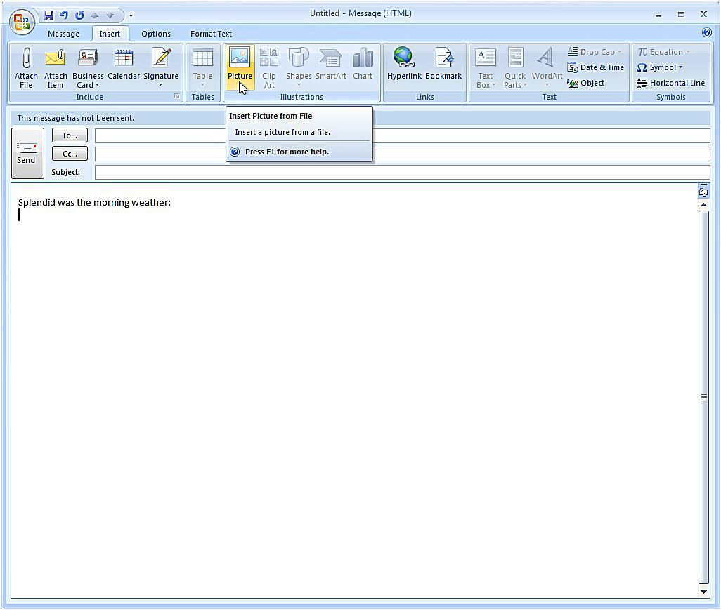 Insert An Image Inline With Outlook 2007