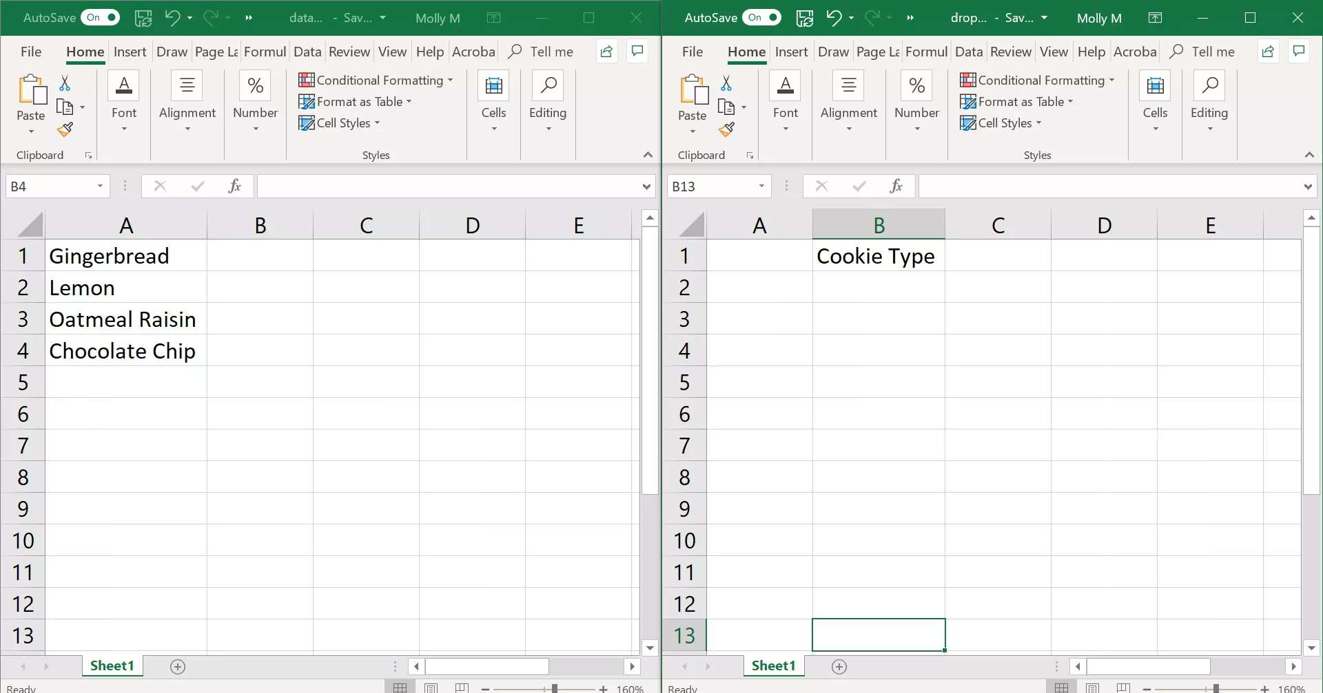 Data for drop-down list in Excel