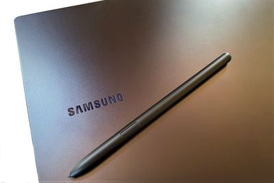 A photo of the Samsung Galaxy Book Pro 360 with S Pen visible