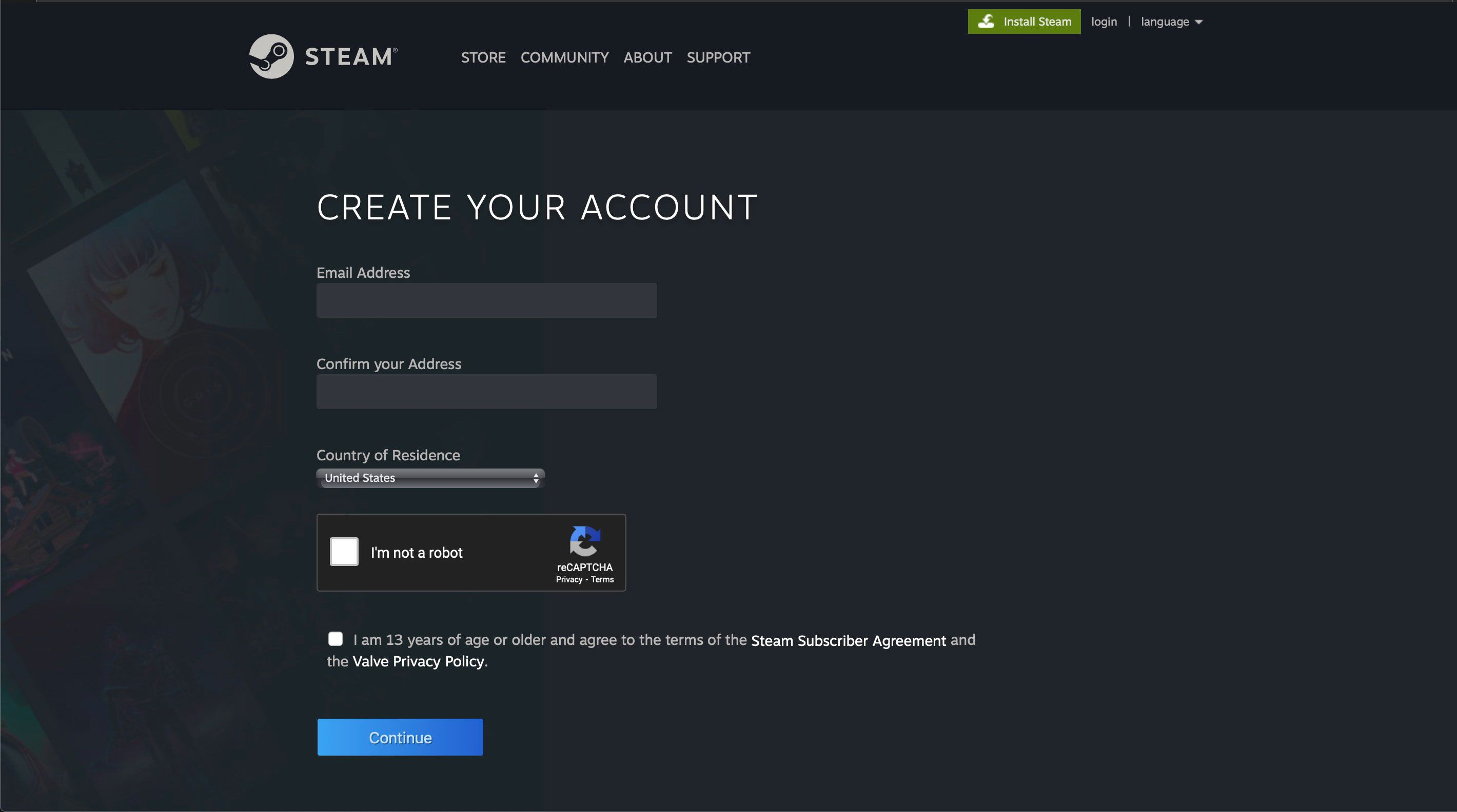 The Create Your Account screen on Steam