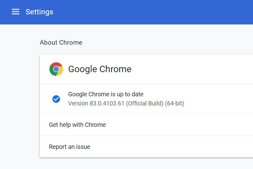 Google Chrome version number