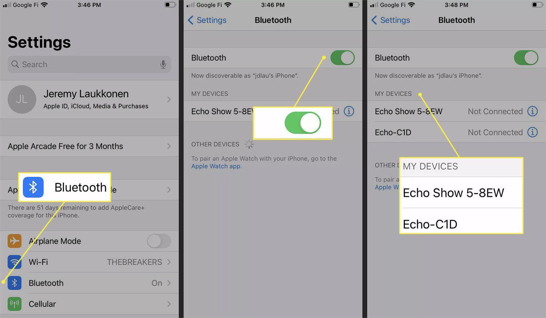 Adding the Echo Dot to an iPhone via Bluetooth settings.