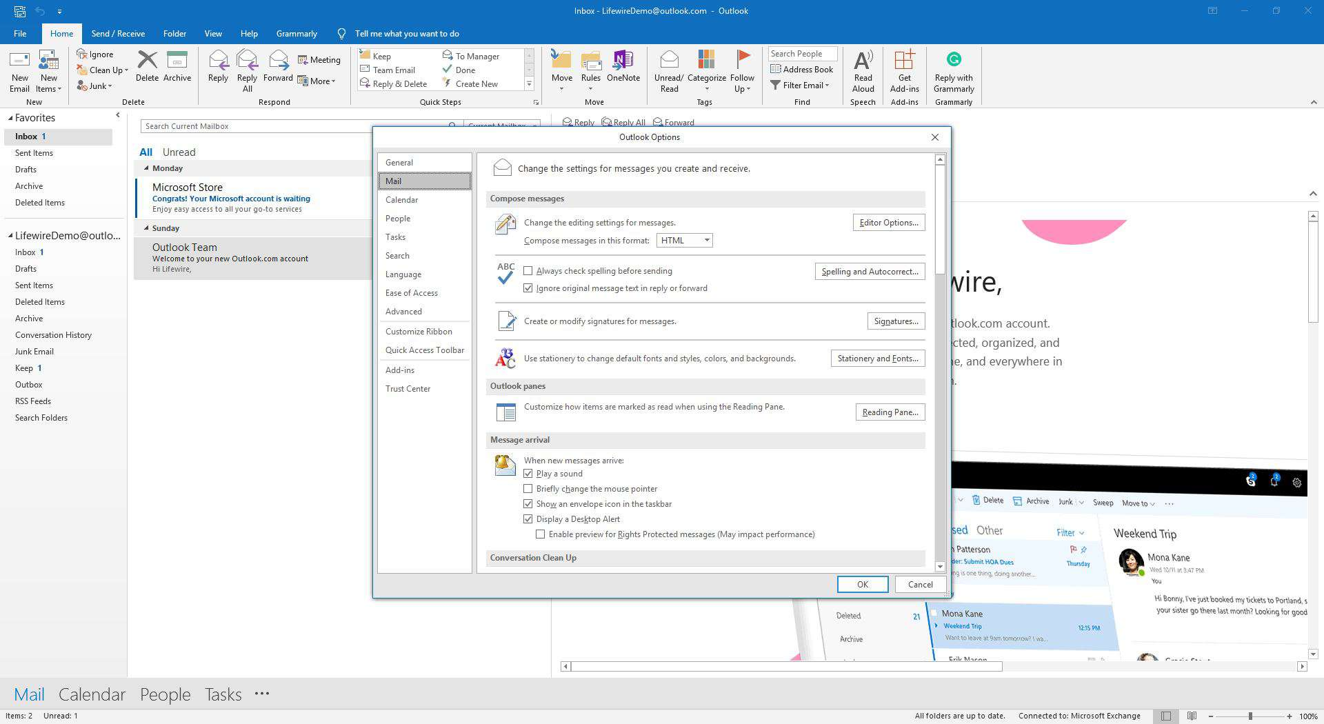 Outlook option dialog box with mail settings selected.