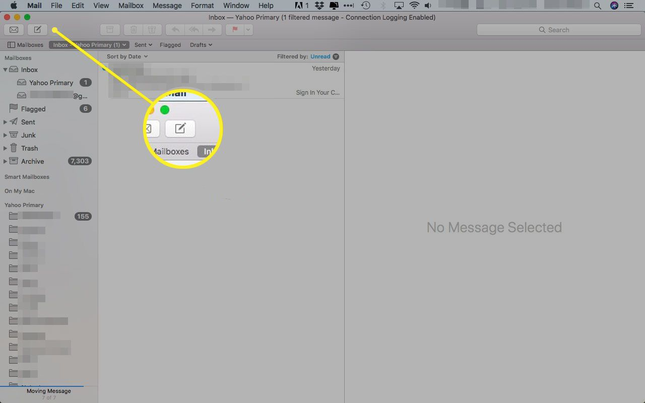 Apple Mail with the New Message button highlighted