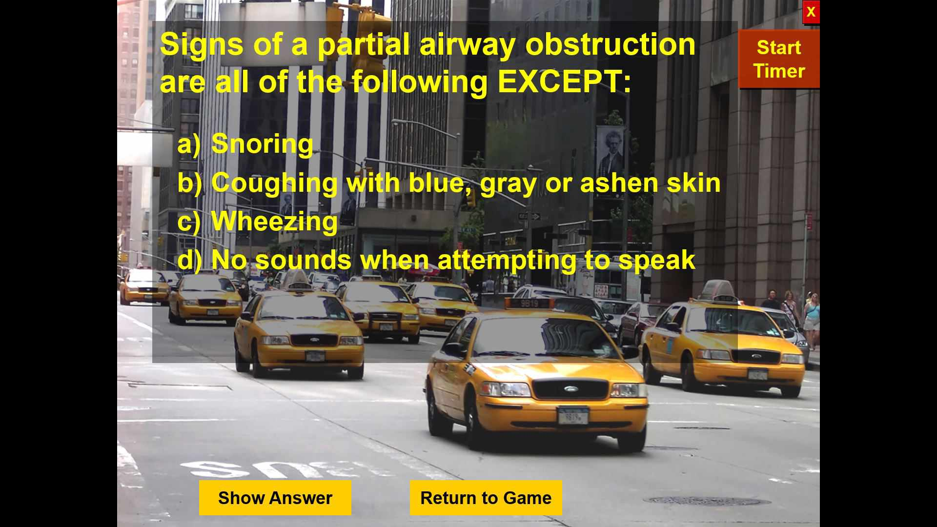 A Cash Cab PowerPoint template with a first aid theme.