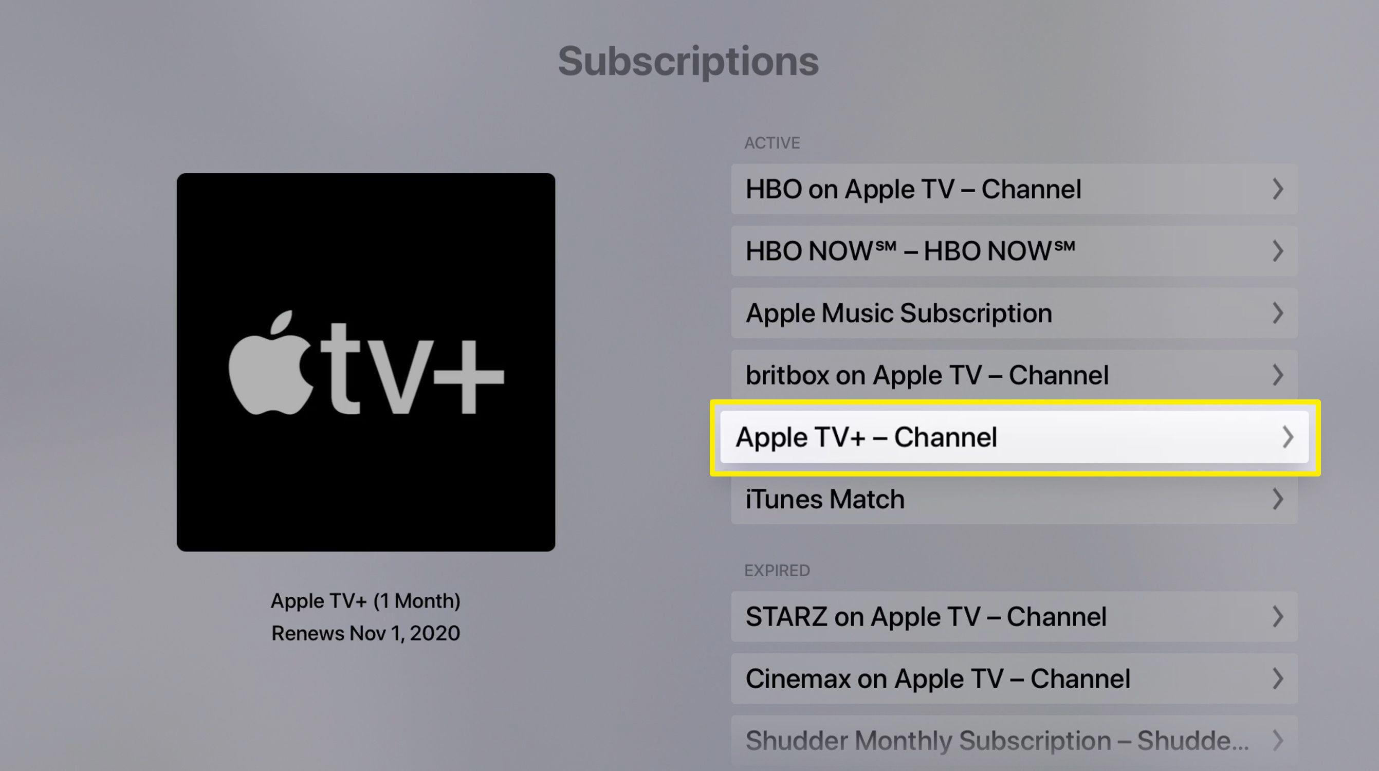 Screenshot of Apple TV subscriptions list