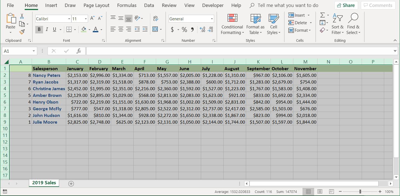 A screenshot of the Excel column data flipped.