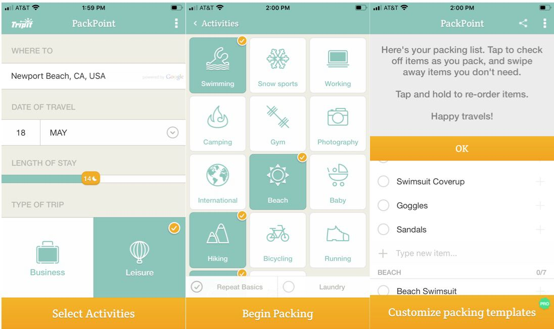 PackPoint packing assistant app for travel