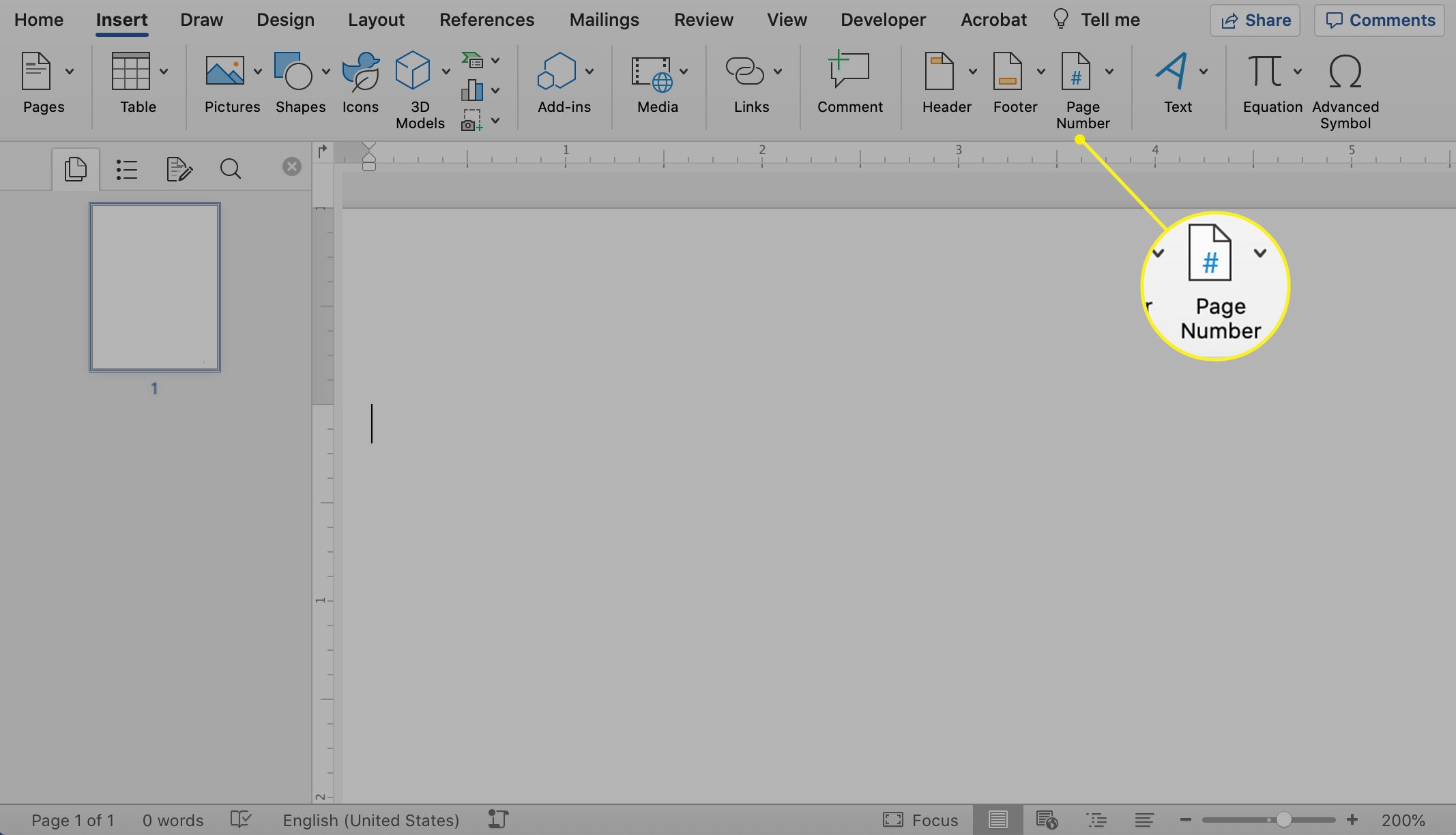 The Page Number icon highlighted in Microsoft Word
