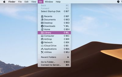 Library shown in Go menu on macOS Finder Desktop