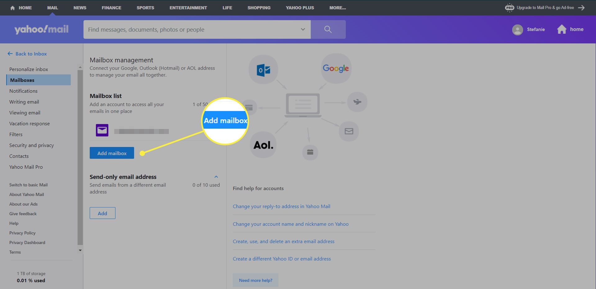 Yahoo Mail settings with 'Add Mailbox' highlighted