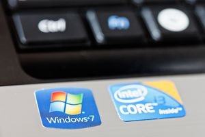 Windows and Intel stickers on new laptop computer