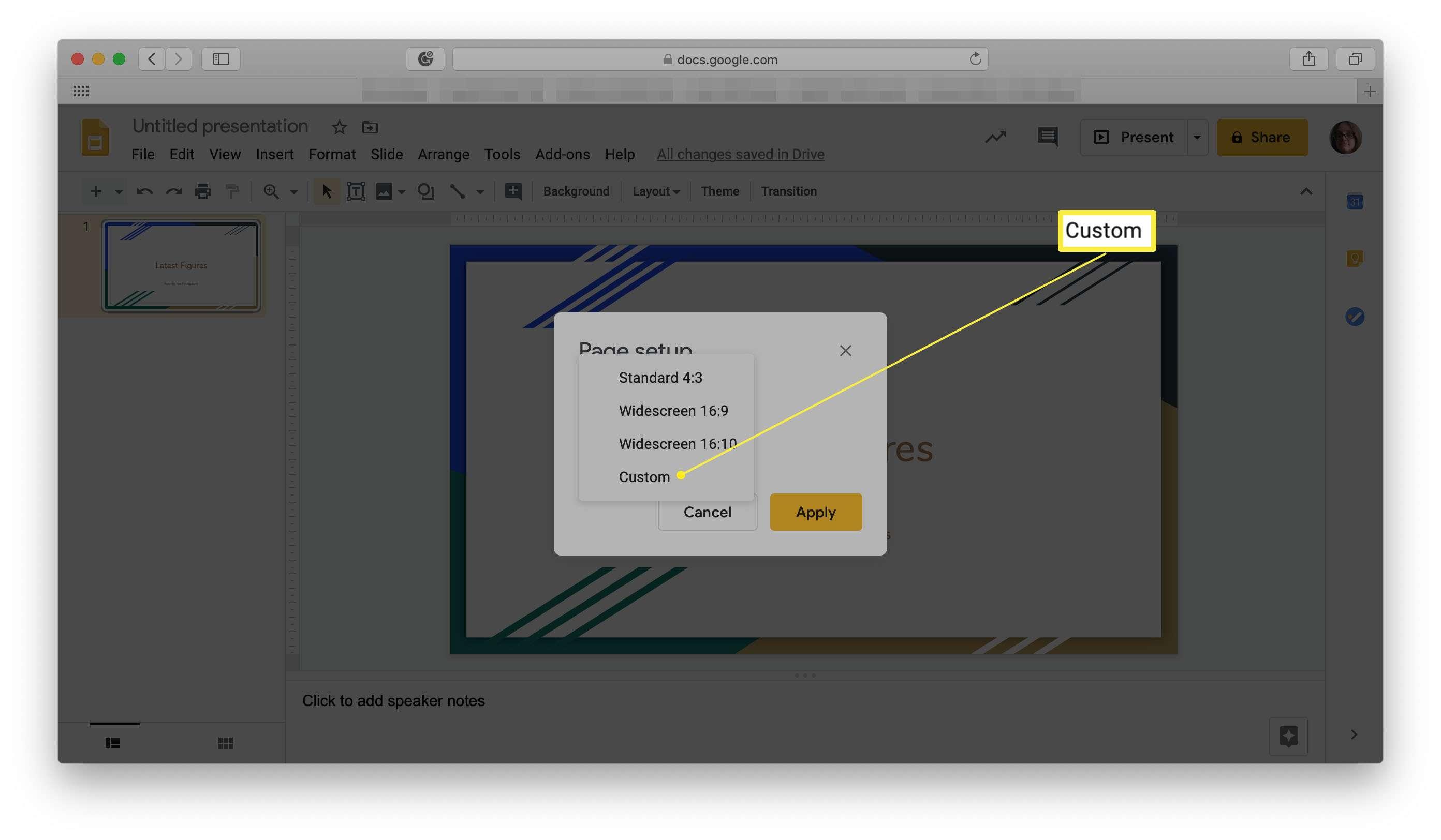 Google Slides Custom page setup highlighted