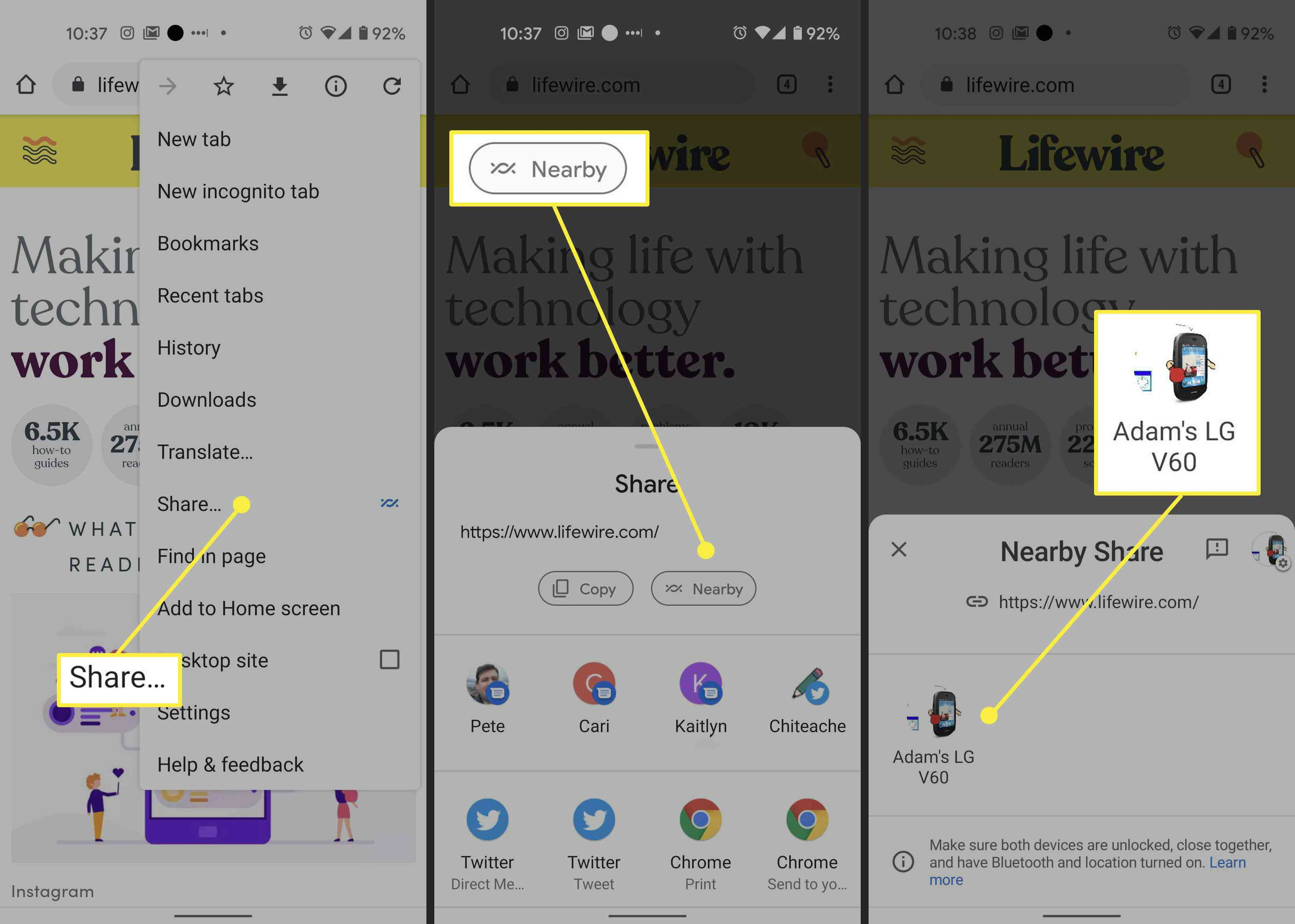 Steps to take to send a file via Nearby Share on Android.