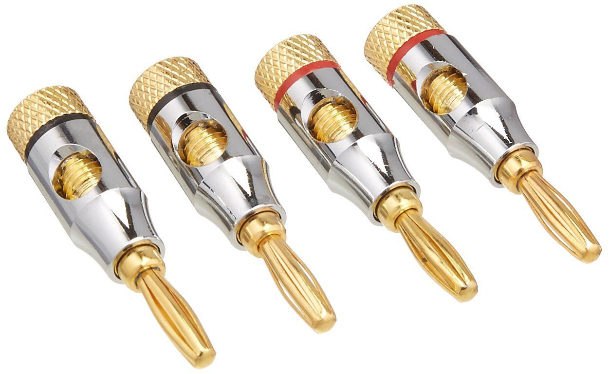 How To Choose And Install Speaker Wire Connectors Home Wiring Ends Two Pairs Of Metal Banana Plug