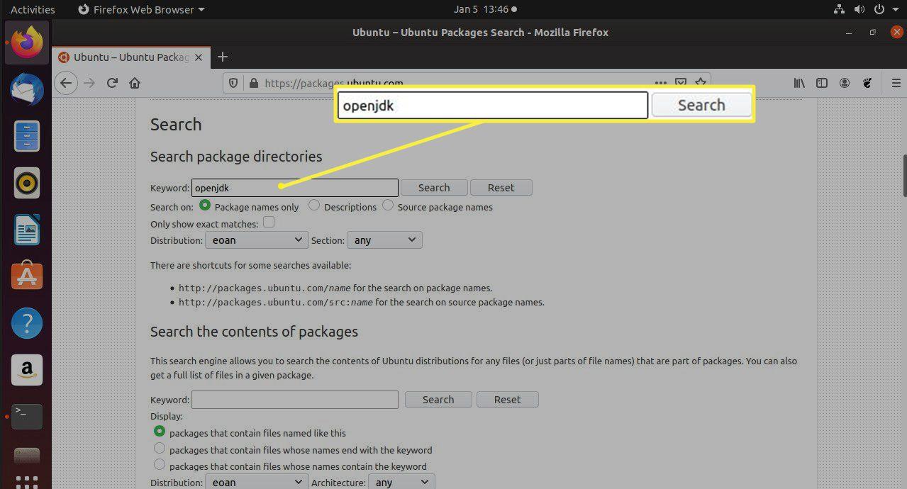 Ubuntu package search