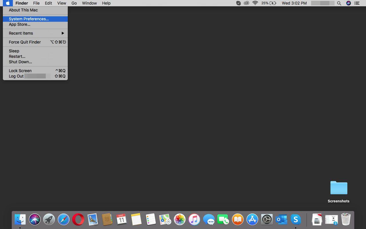 Going to System Preferences in macOS.