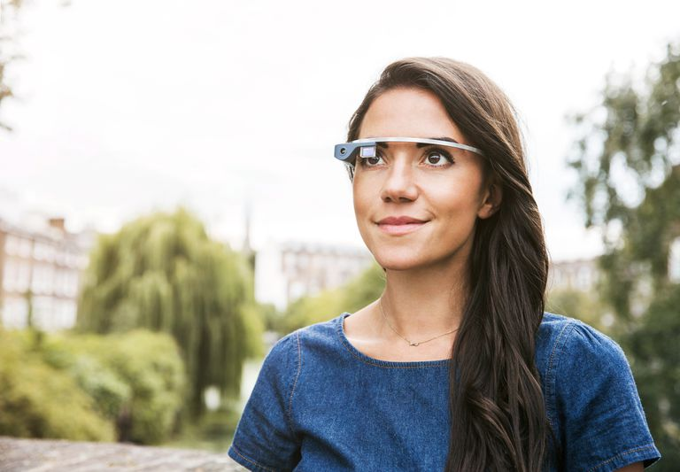 Woman wearing smart glasses