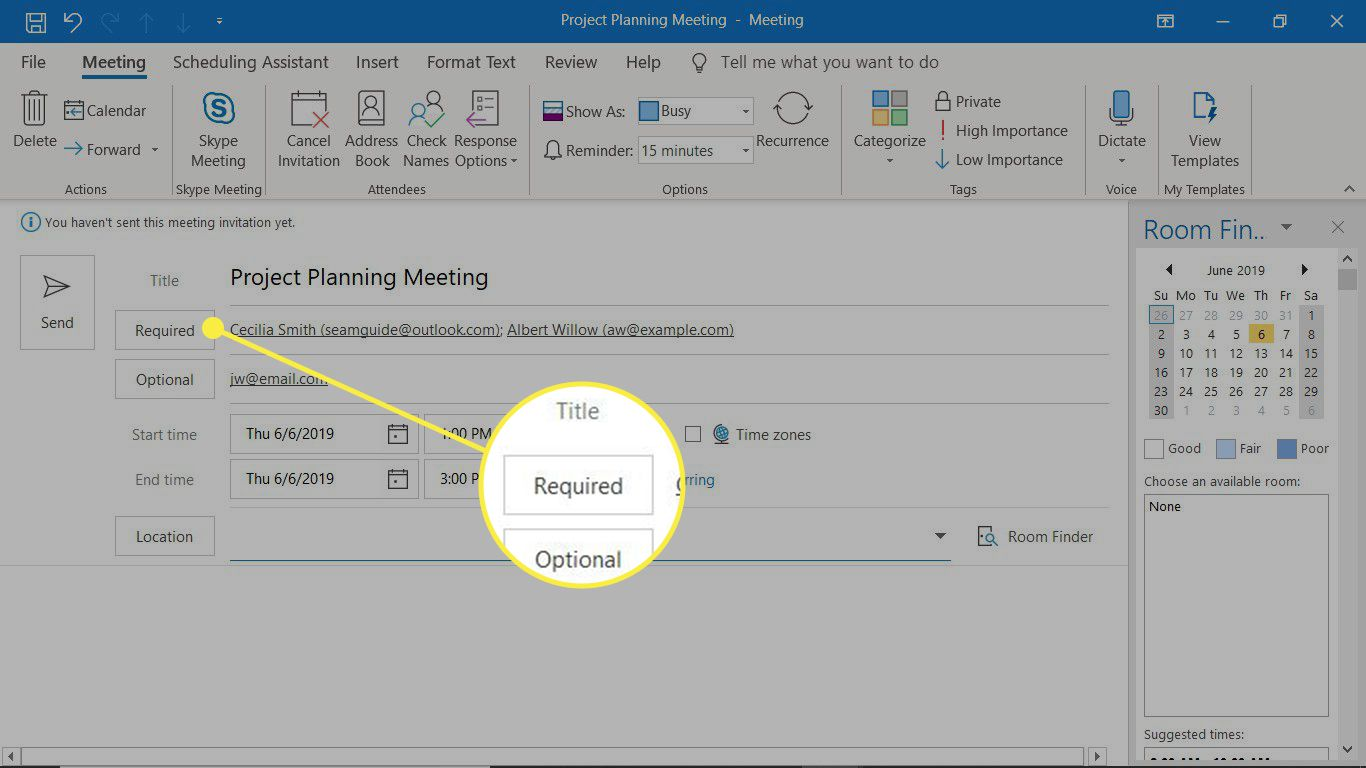 The Required field in a new meeting