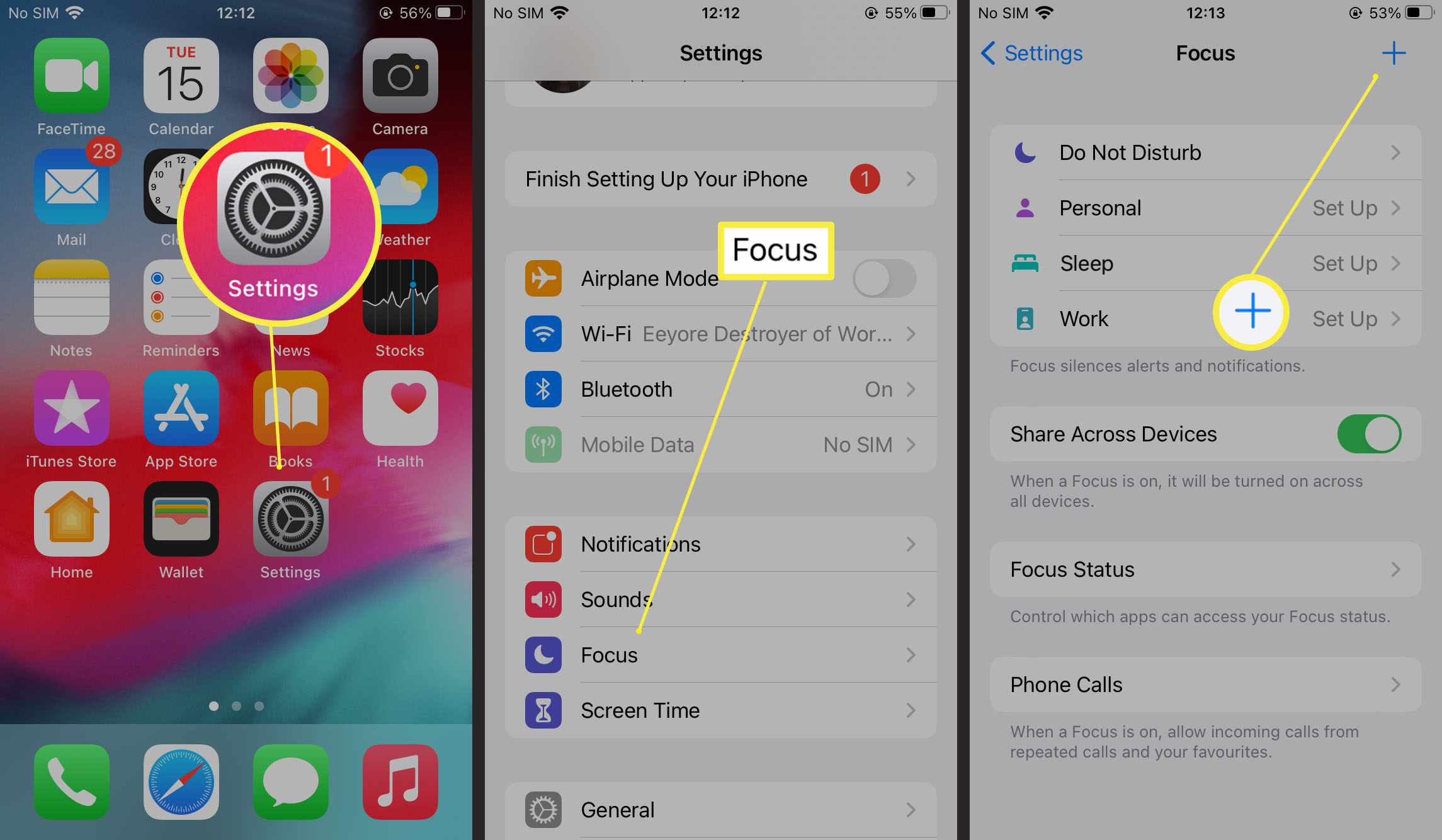 Steps required to add a Focus Mode preset on iOS15