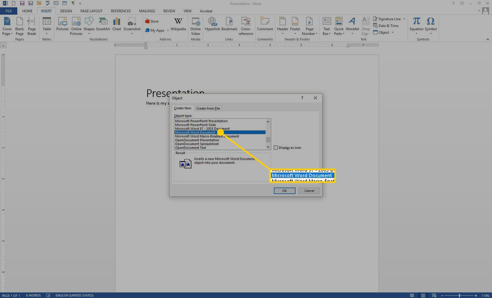 Create New Object box in Word with the Microsoft Word Document option highlighted