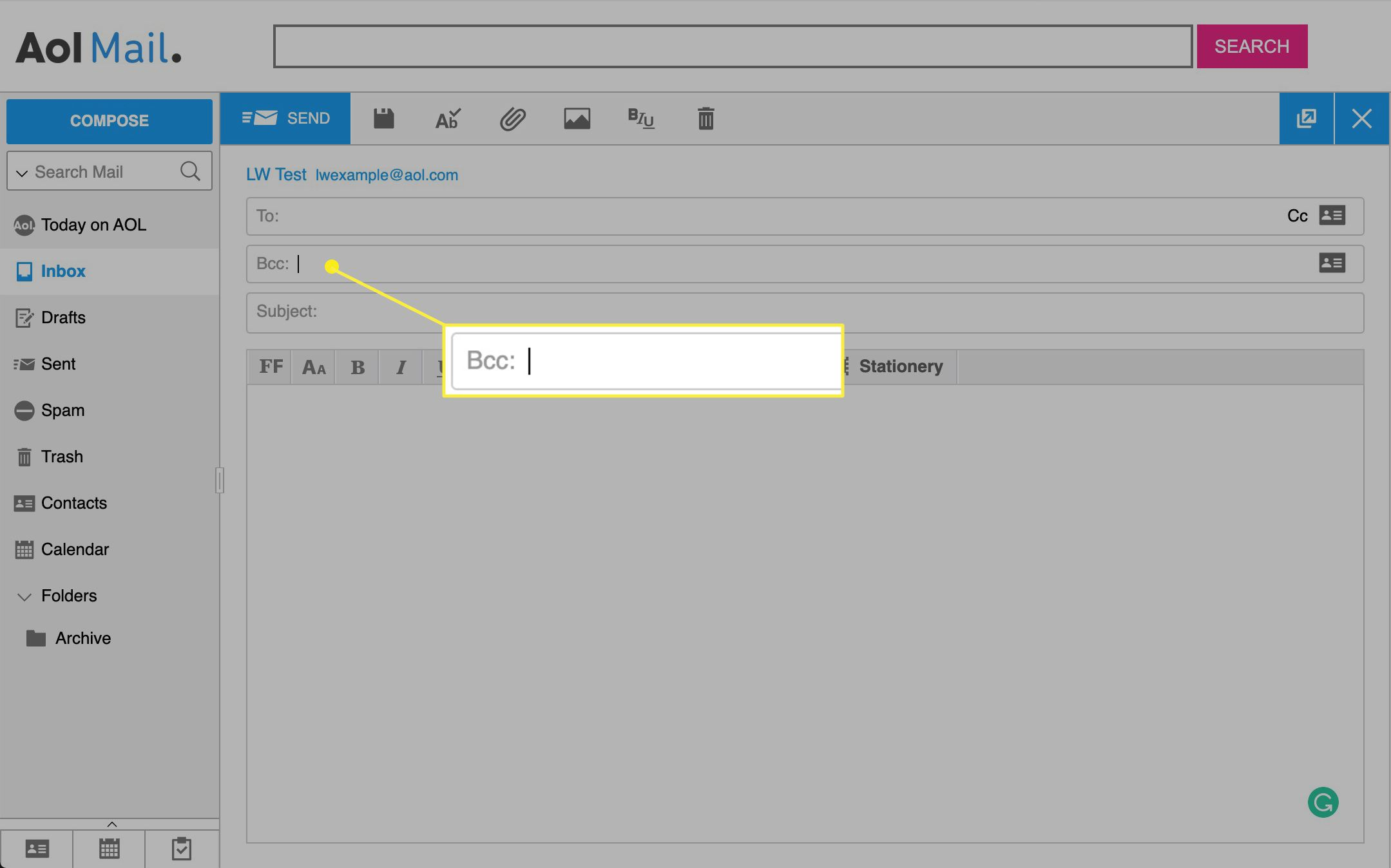 AOL mail with BCC field highlighted