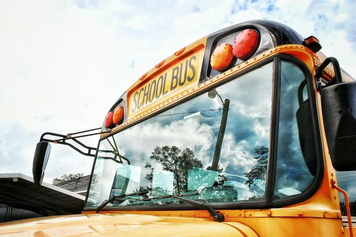 Close-up shot of school bus