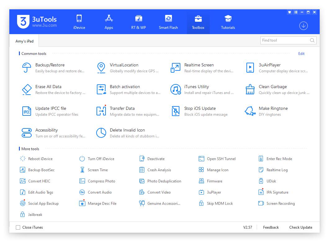 3uTools Toolbox options