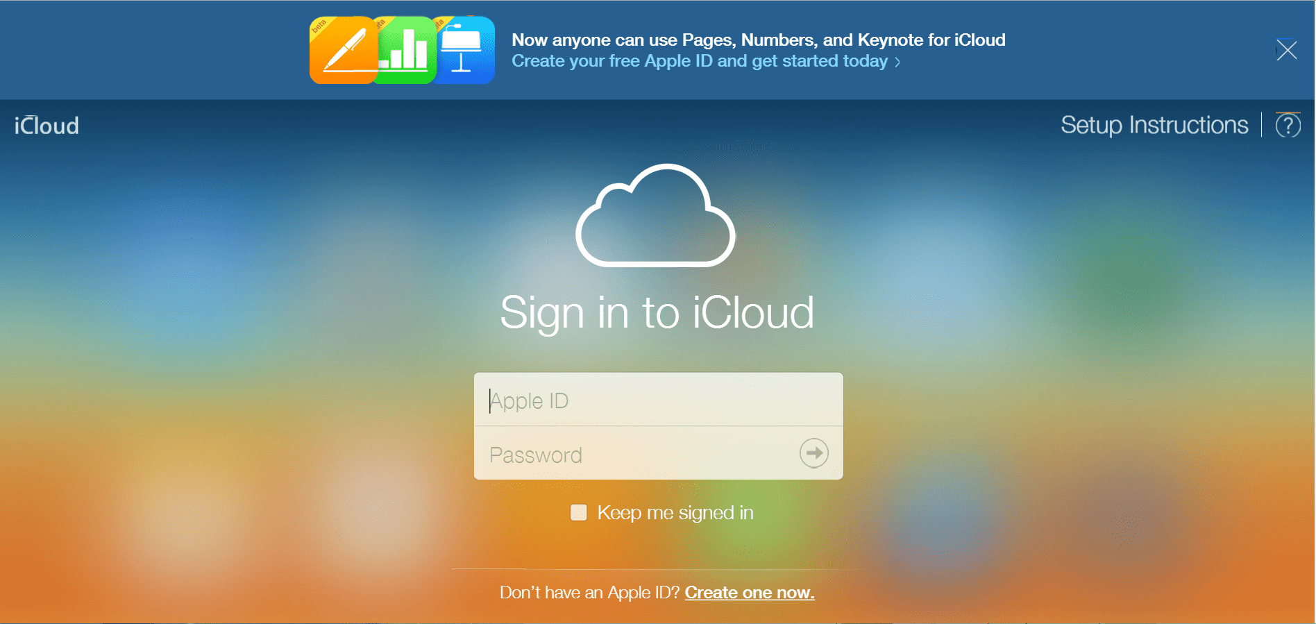 Sign Up for iWork for iCloud via an Apple ID