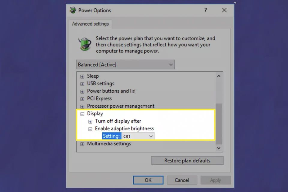 Advanced settings Power Options for the Display in Windows 10.