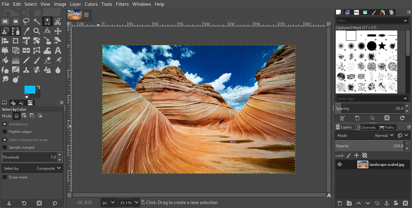 GIMP with image open