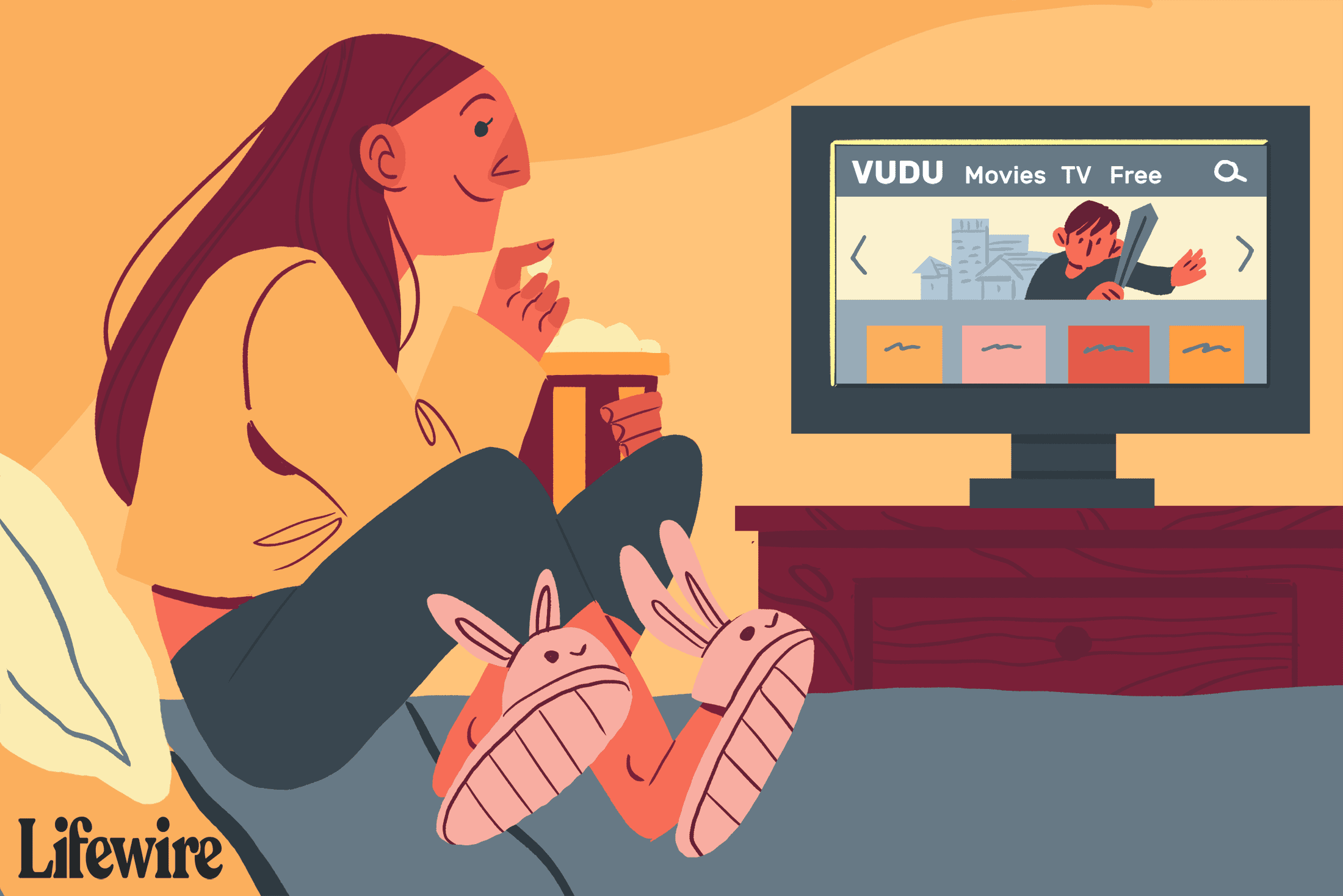 Person on their bed in bunny slippers watching Vudu