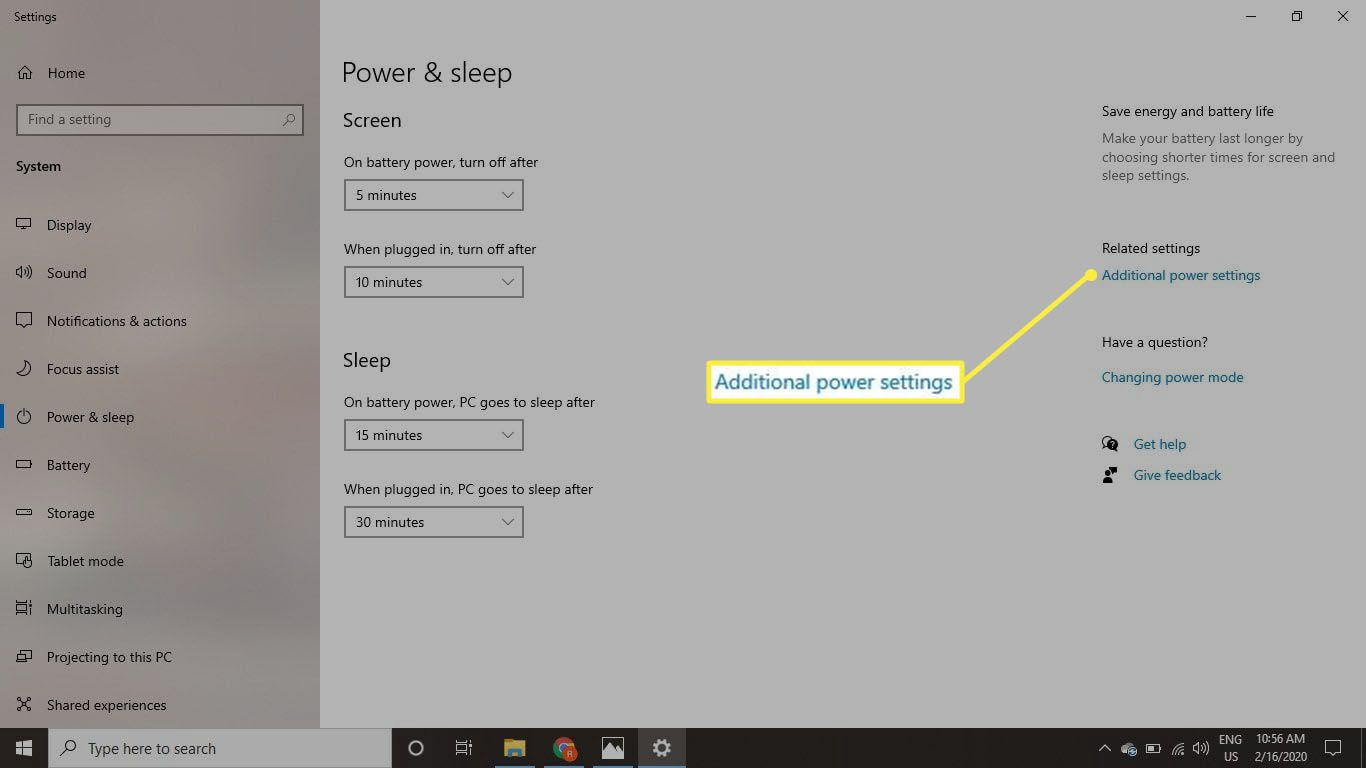 Select Additional power settings.