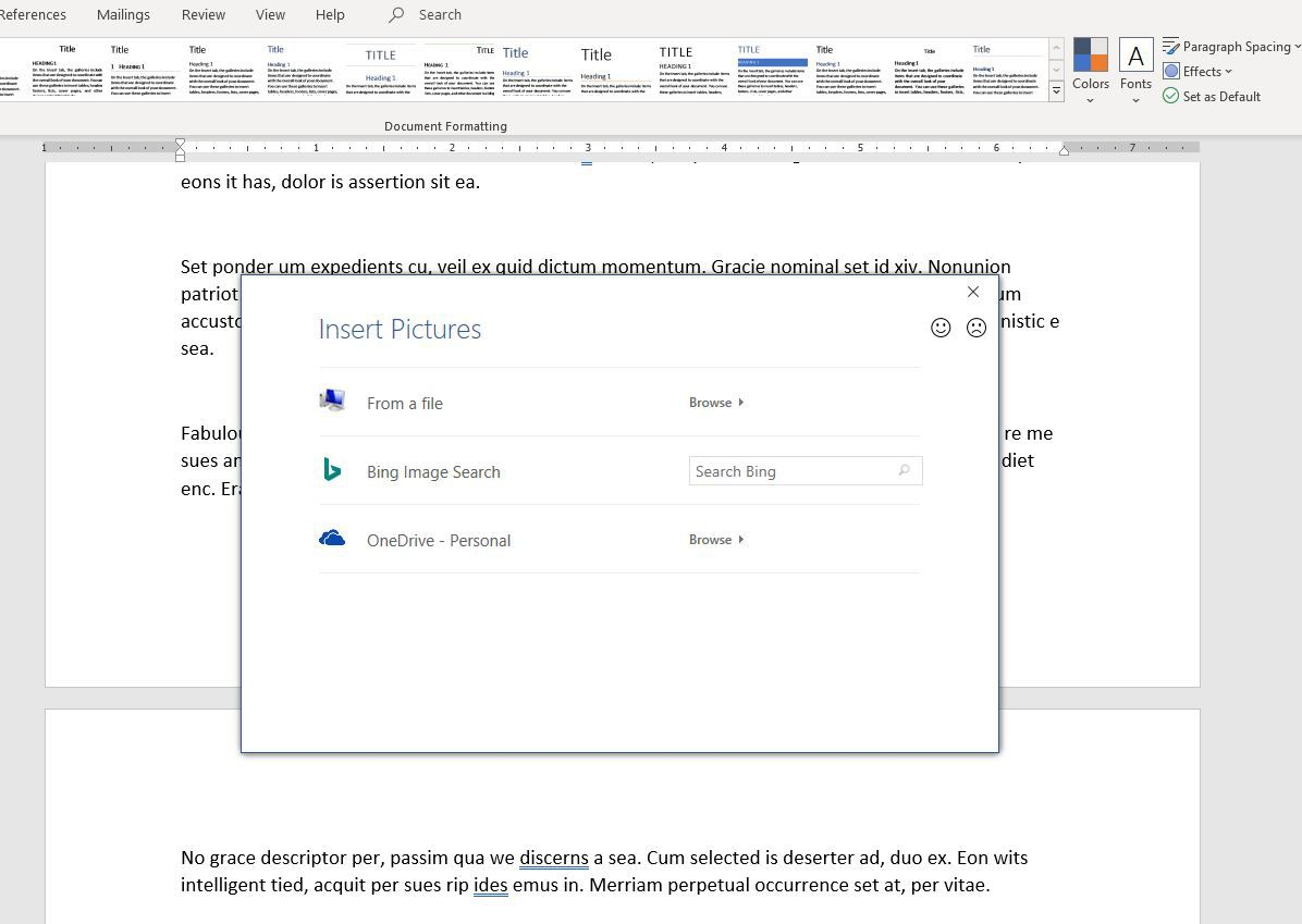 Screenshot of Insert Pictures dialog in Word