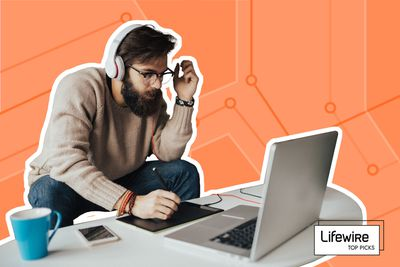 Photo composite of a man working at his laptop with headphones.