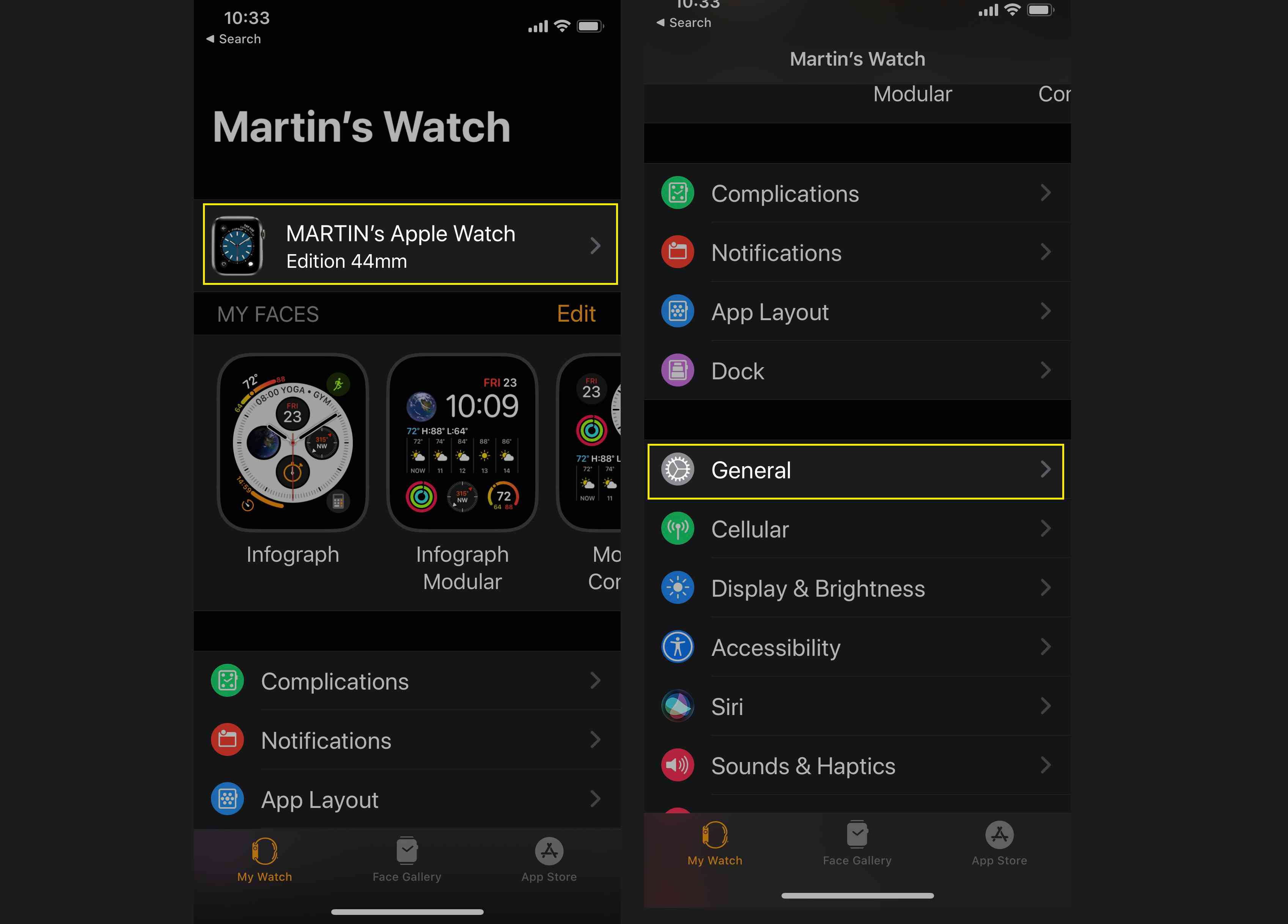 Open the Apple Watch app and select your device and then General