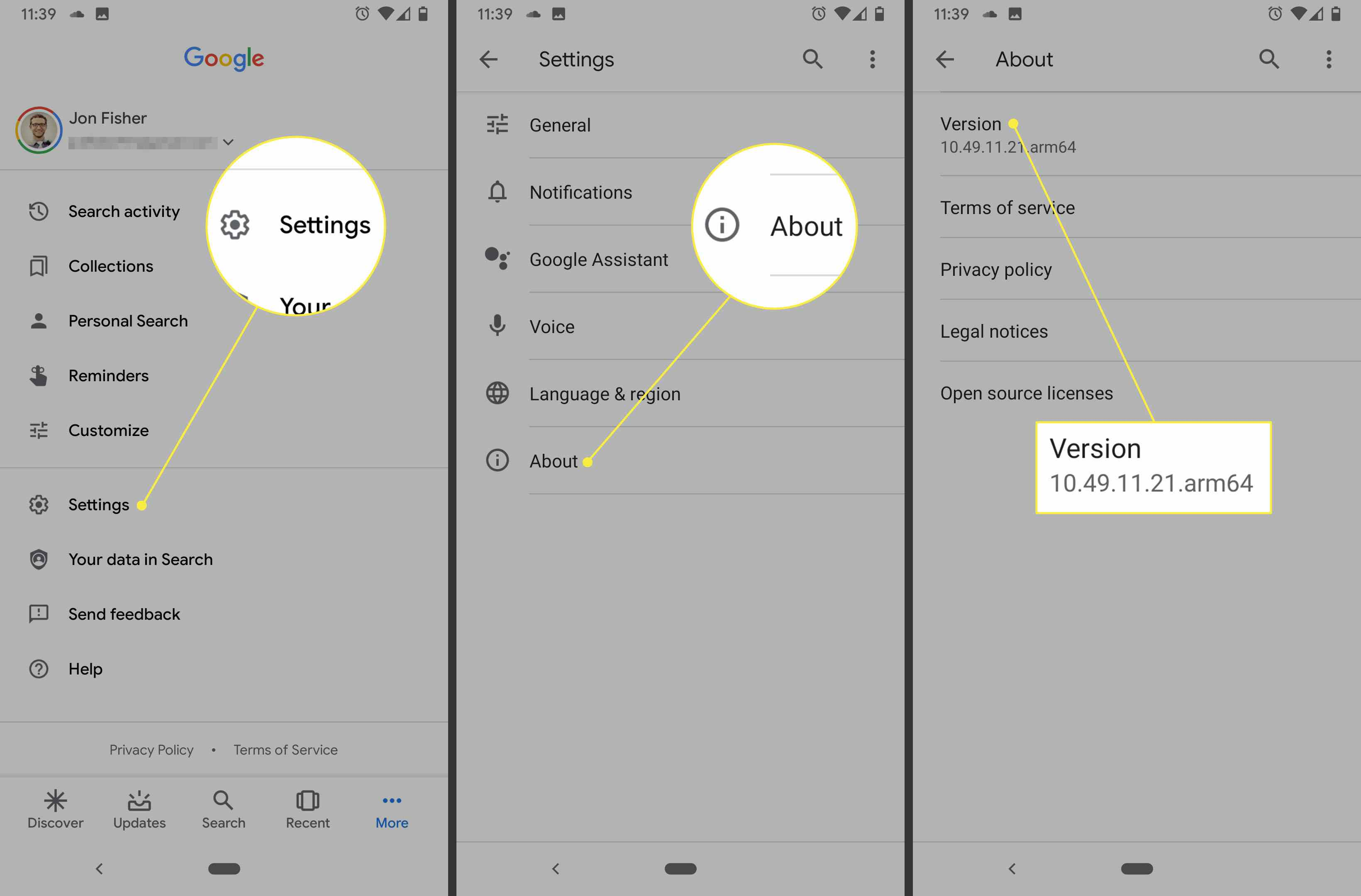 Google App more, settings, about screens.