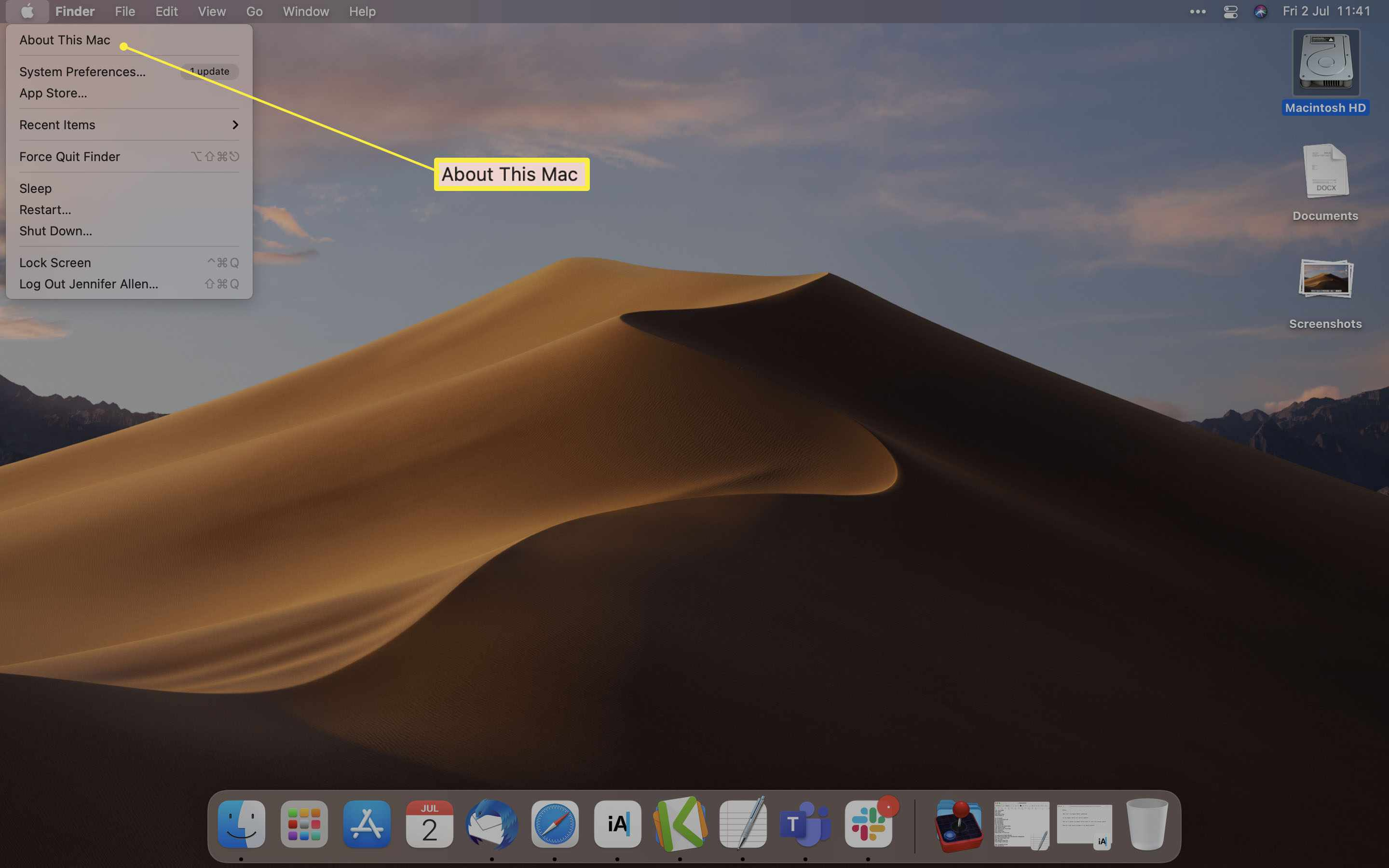 macOS desktop with About This Mac highlighted