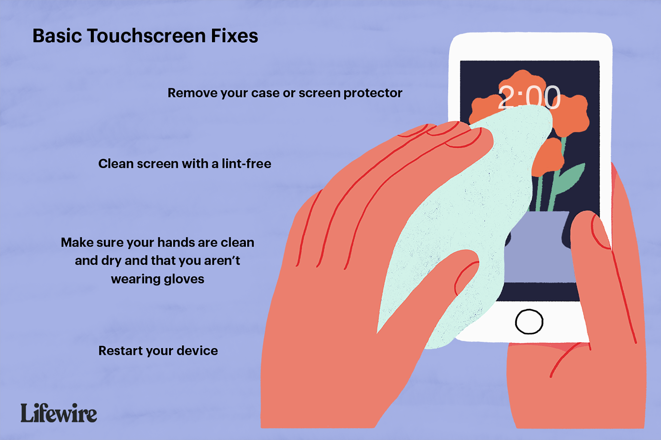 An illustration of someone cleaning an iPhone screen with the basic touchscreen fixes listed.