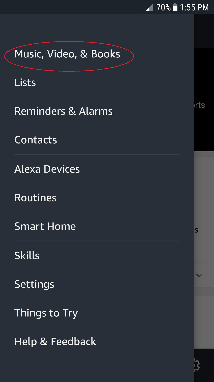 alexa app main menu