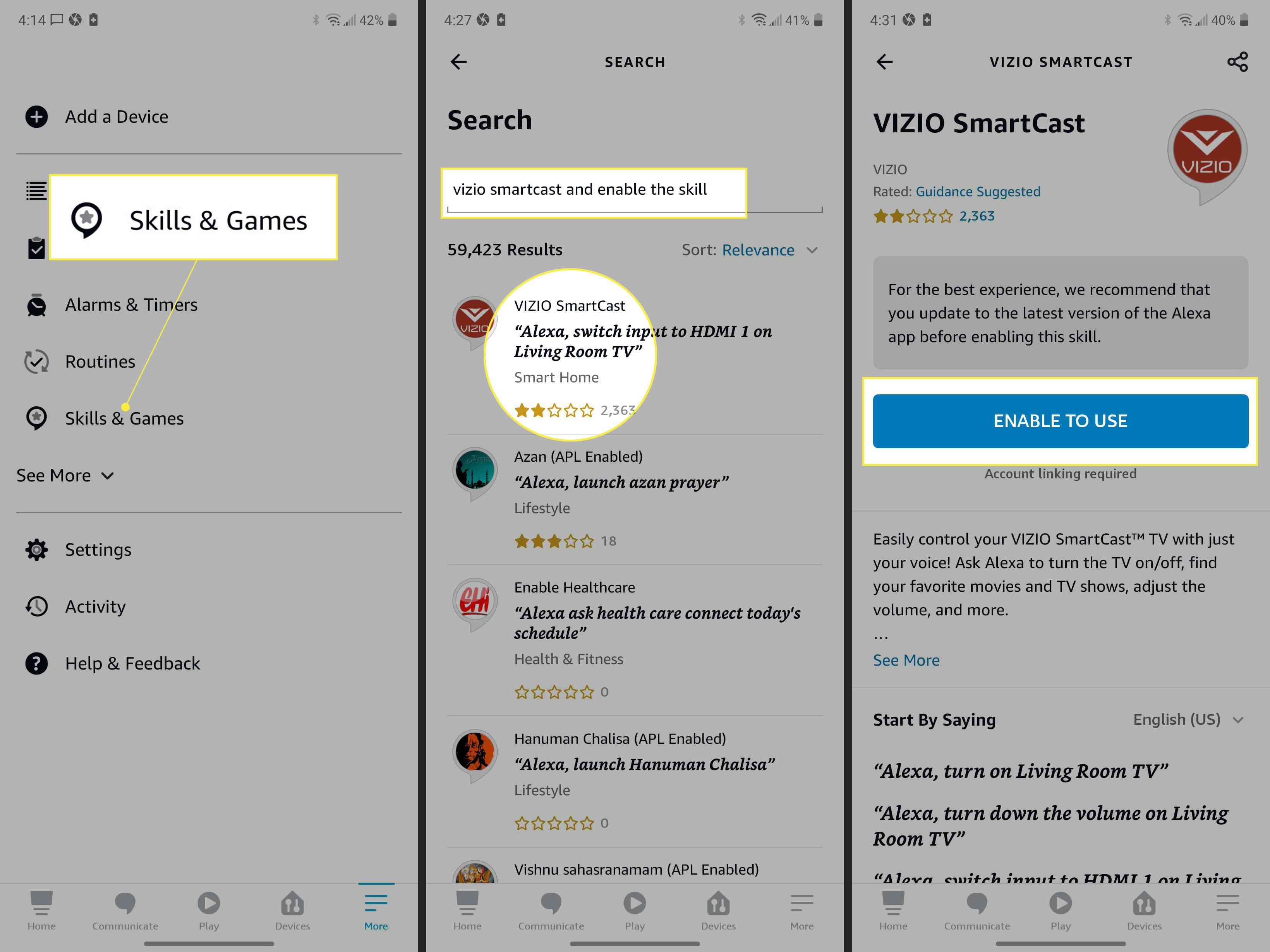 Alexa app with Skills & Games, search field, the Vizio SmartCast skill, and Enable to Use highlighted