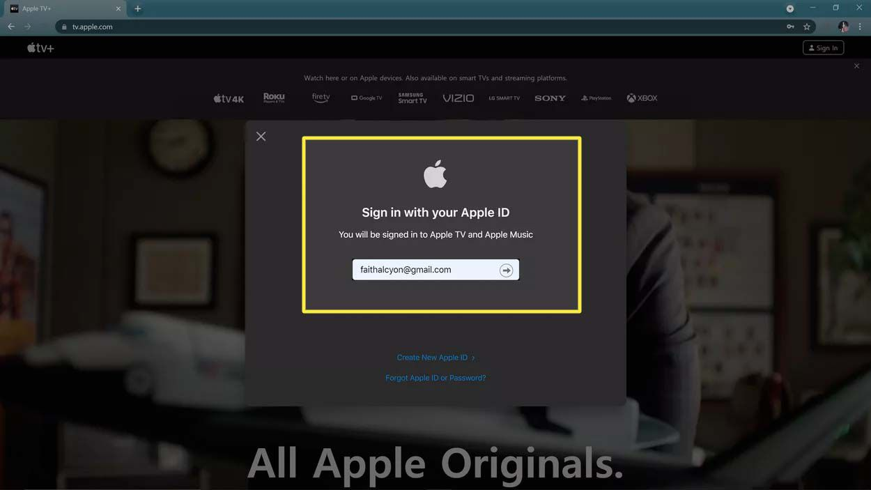 Signing in to the Apple TV website.