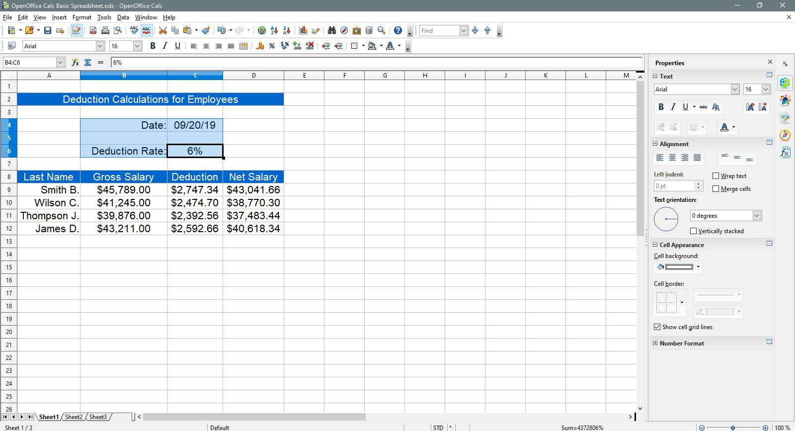 Select text to change to sky blue in OpenOffice Calc.
