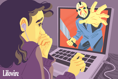 Illustration of a woman watching a scary movie on her laptop.
